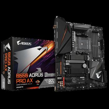 GIGABYTE B550 AORUS PRO AX AMD ATX Dual PCIe 4.0/3.0 x4 M.2 with Dual Thermal Guards, Intel® WiFi 6 802.11ax, 2.5GbE LAN, Front & Rear USB Type-C