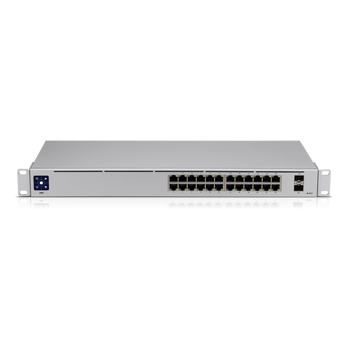 UBIQUITI UniFi 24 port Managed Gigabit Switch - 24x Gigabit Ethernet Ports, with 2xSFP - Touch Display - Fanless - GEN2
