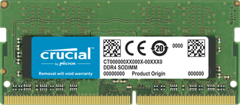 MICRON (CRUCIAL) 32GB (1x32GB) DDR4 SODIMM 2666MHz CL19 1.2V PC4-21300 Dual Ranked Single Stick Notebook Laptop Memory RAM