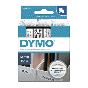 DYMO Black on White 12mmx7m Tape