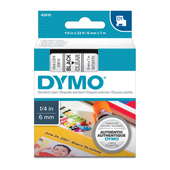 DYMO Black on Clear 6mm x7m Tape