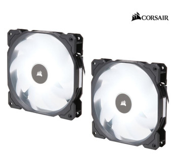 CORSAIR Air Flow 140mm Fan Low Noise Edition / White LED 3 PIN - Hydraulic Bearing, 1.43mm H2O. Superior cooling performance. TWIN Pack!