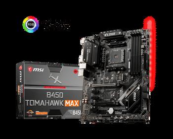 MSI B450 TOMAHAWK MAX II AM4 Ryzen ATX Motherboard 4xDDR4 5xPCI-e 1xM.2 DVI HDMI RAID LAN 6xSATAIII 1xUSB-C 6xUSB3.2 6xUSB2.0