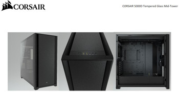 CORSAIR 5000D TG E-ATX, ATX, USB Type-C, 2x 120mm Airguide Fans, Radiator 360mm. 7x PCI, 4x 2.5' SSD, 2x 3.5' HDD. VGA 420mm. Black Tower Case