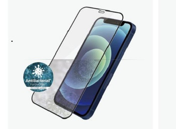 PANZER GLASS Screen Protector - Case Friendly - For Apple iPhone 12 Mini-Black - Antibactrial Glass,Protects the Entire Screen,Shock Absorbing