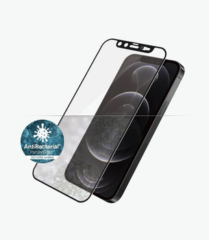 PANZER GLASS Screen Protector - Case Friendly - For Apple iPhone 12 Pro Max - Black- Antibactrial Glass, Protects the Entire Screen, Crystal Clear