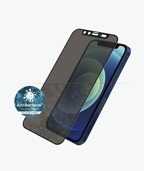 PANZER GLASS Privacy Case Friendly CamSlider Screen Protector For Apple iPhone 12 Mini-Black-Crystal clear,Dual Privacy glass