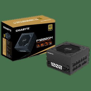 GIGABYTE P1000GM 1000W ATX PSU Power Supply, 80+ Gold, Fully Modular, Black Flat Cables, Single +12V Rail, Japanese >100K Hrs