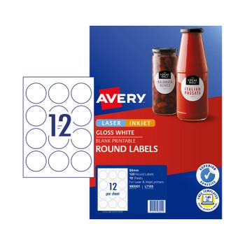 AVERY Lbl L7105 Rd 60mm 12Up Pk10