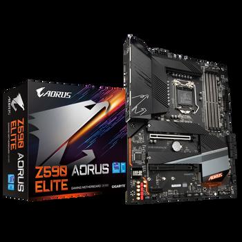 GIGABYTE Z590 AORUS ELITE Intel ATX Motherboard, 4x DDR4 ~128GB, 2x PCI-e x16, 1x PCI-e x1, 3x M.2, 6x SATA, RAID 0/1/5/10, 1x USB-C, 7x USB 3.2