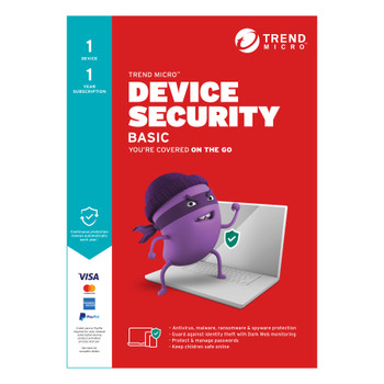TREND MICRO Micro Device Security BASIC (1 Devices) 1Yr Subscription Retail Mini Box (Replaces Maximum Security)