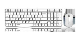 RAPOO X1800S 2.4GHz Wireless Optical Keyboard Mouse Combo Black - 1000DPI Nano Receiver 12m Battery (White)