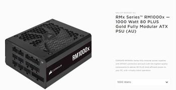 CORSAIR 1000W 2021 RMX 80+ Gold Fully Modular 135mm FAN, ATX Power Supply, PSU, 10 Years Warranty