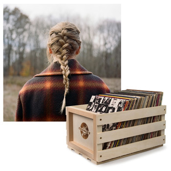 UNIVERSAL MUSIC Crosley Record Storage Crate &  Taylor Swift - Evermore - Double Vinyl Album Bundle