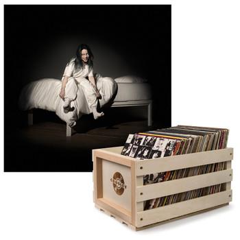 UNIVERSAL MUSIC Crosley Record Storage Crate & Billie Eilish - When We All Fall Asleep, Where Do We Go - Vinyl Album Bundle