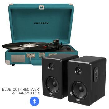 CROSLEY Crosley Cruiser Bluetooth Portable Turntable - Teal + Bundled Majority D40 Bluetooth Speakers - Black