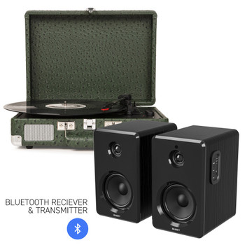 CROSLEY Crosley Cruiser Bluetooth Portable Turntable - Ostrich + Bundled Majority D40 Bluetooth Speakers - Black