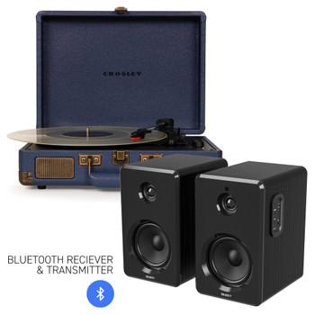 CROSLEY Crosley Cruiser Bluetooth Portable Turntable - Navy + Bundled Majority D40 Bluetooth Speakers - Black