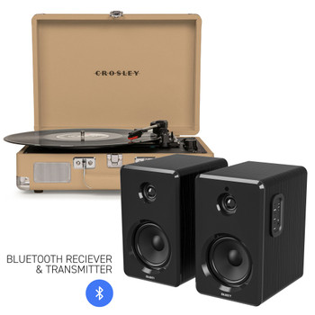 CROSLEY Crosley Cruiser Bluetooth Portable Turntable - Light Tan + Bundled Majority D40 Bluetooth Speakers - Black