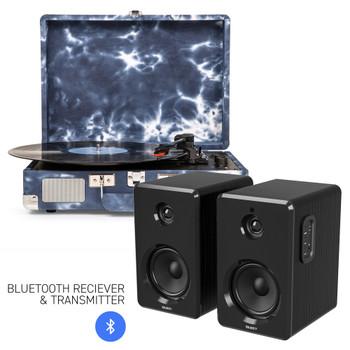 CROSLEY Crosley Cruiser Bluetooth Portable Turntable - Indigo + Bundled Majority D40 Bluetooth Speakers - Black