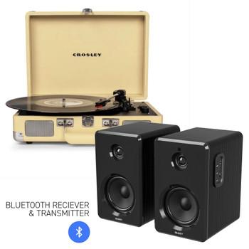 CROSLEY Crosley Cruiser Bluetooth Portable Turntable - Fawn + Bundled Majority D40 Bluetooth Speakers - Black
