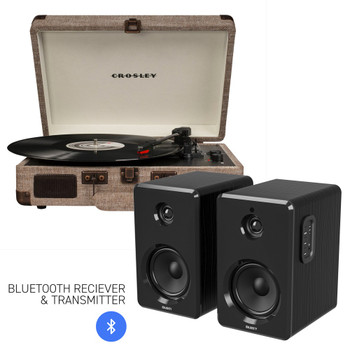CROSLEY Crosley Cruiser Bluetooth Portable Turntable - Havana + Bundled Majority D40 Bluetooth Speakers - Black