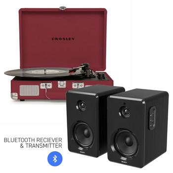 CROSLEY Crosley Cruiser Bluetooth Portable Turntable - Burgundy + Bundled Majority D40 Bluetooth Speakers - Black