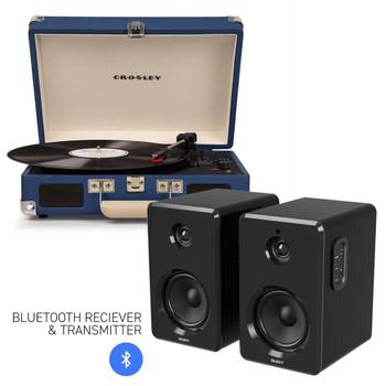 CROSLEY Crosley Cruiser Bluetooth Portable Turntable - Blue + Bundled Majority D40 Bluetooth Speakers - Black