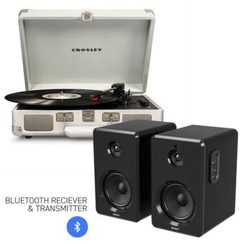 CROSLEY Crosley Cruiser Bluetooth Portable Turntable - White Sands + Bundled Majority D40 Bluetooth Speakers - Black