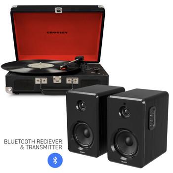 CROSLEY Crosley Cruiser Bluetooth Portable Turntable - Black + Bundled Majority D40 Bluetooth Speakers - Black