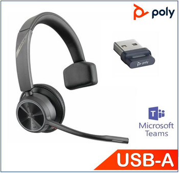 POLYCOM ASIA PACIFIC PTE LTD Voyager 4310 UC, Teams certified, Monaural, Wireless, Noise canceling boom, Acoustice Fence, SoundGuard, upto 24hrs talk time