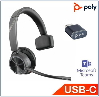 POLYCOM ASIA PACIFIC PTE LTD Voyager 4310 UC, USB-C, Teams certified, Monaural, Noise canceling boom, Acoustice Fence, SoundGuard, upto 24hrs talk time