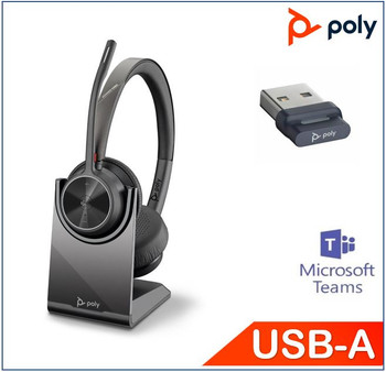 POLYCOM ASIA PACIFIC PTE LTD Voyager 4320 UC with Charge Stand, usb-A,Teams certified, Monaural, Wireless, Noise canceling boom, Acoustice Fence, SoundGuard