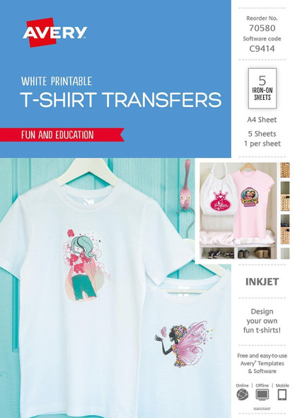 Avery Inspired T-Shirt Transfer - clear transfer sheets - 5 sheet(s)