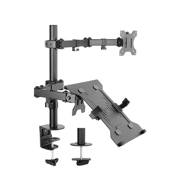 Brateck Monitor Stand Economical Double Joint Articulating Steel Monitor Arm with Laptop Holder Fit Most 13'-32' Monitors, Up to 8kg/Screen