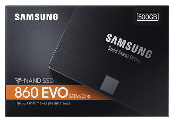 SAMSUNG 860 EVO 500GB, V-NAND, 2.5'. 7mm, SATA III 6GB/s, R/W(Max) 550MB/s/520MB/s, 98K/90K IOPS, 300TBW, 5 Years Warranty