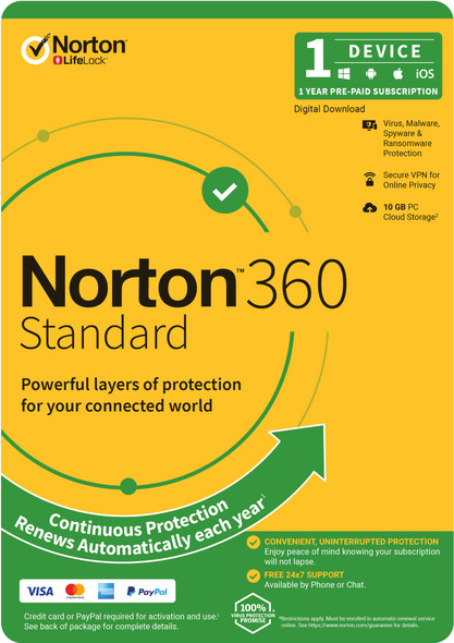 NORTON 360 Standard, 10GB, 1 User, 1 Device, 12 Months, PC, MAC, Android, iOS, DVD, VPN, Parental Controls, Attach OEM Edition, Subscription