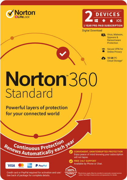 NORTON 360 Standard, 10GB, 1 User, 2 Devices, 12 Months, PC, MAC, Android, iOS, DVD, OEM, Subscription