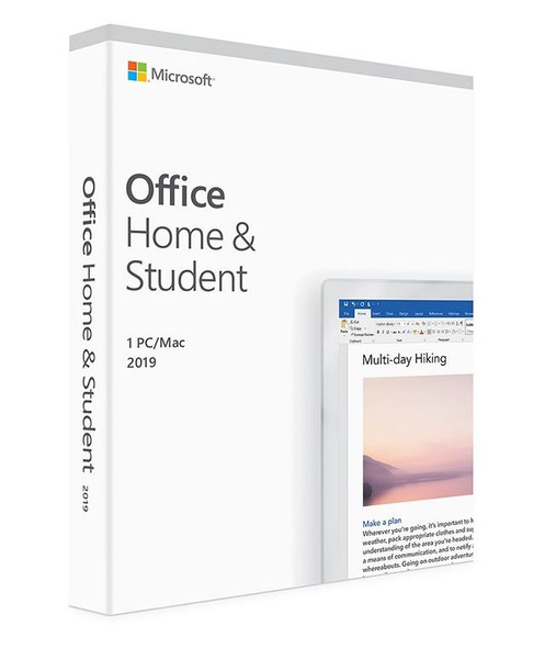 MICROSOFT Office Home and Student 2019 English Medialess 1 User for PC & Mac - (Replaces 79G-05097)