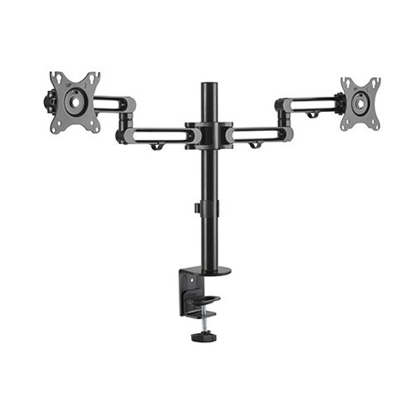 BRATECK Dual Monitor Premium Aluminum Articulating Monitor Arm Fit Most 17'-32' Monitors Up to 8kg per screen