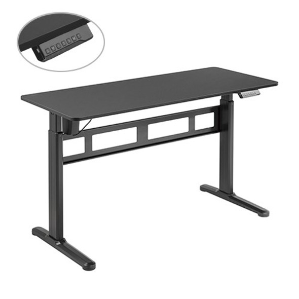 BRATECK Stylish Single-Motor Sit- Stand Desk (Black) 1400x600x740~1200mm