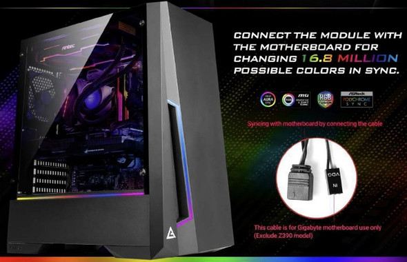 ANTEC DP501 ATX ARGB Front LED, LED Control, Tempered Glass, 2.5' x 4, 3.5' x 2, 7x PCI.1x 120mm pre-installed Gaming Case. 2 Years Warranty