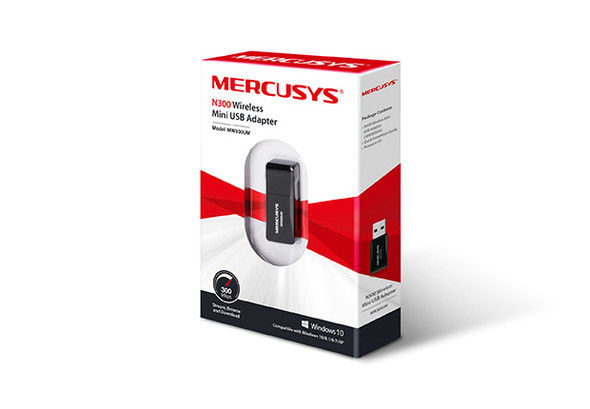 Mercusys MW300UM N300 Wireless Mini USB Adapter Fast 300Mbps, Connect your PC for HD Streaming, Gaming, Web Browsing, Portable, WPS Button, Windows