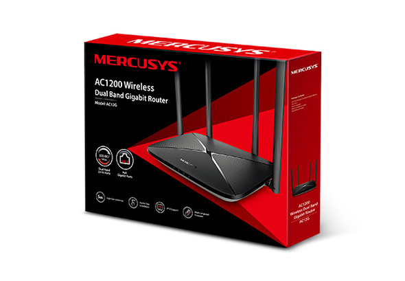 Mercusys AC12G AC1200 Wireless Dual Band Gigabit Router 300Mbps@2.4GHz 867Mbps@5GHz 4 5dBi Fixed Omni Directional Antennas
