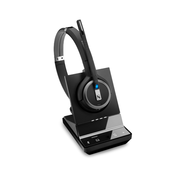 EPOS | Sennheiser Impact SDW 5014 DECT Wireless Office Monoaural Headset w/ base station, for PC & Mobile, Included BTD 800 Dongle, 3-in-1 headset