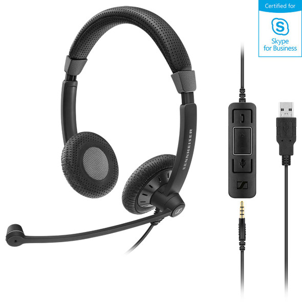 SENNHEISER I Sennheiser SC75 USB Stereo Headset, USB / 3.5mm Connections, Teams Certified, Noise Cancel Mic, Lightweight, 2 Yr Warranty