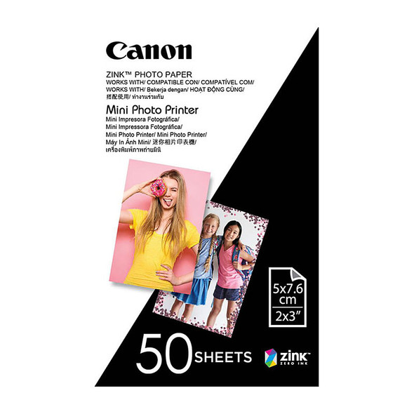 Canon Zink Mini Photo Printer Paper for Canon Inspic (50 Sheets)  2 X 3 Inches