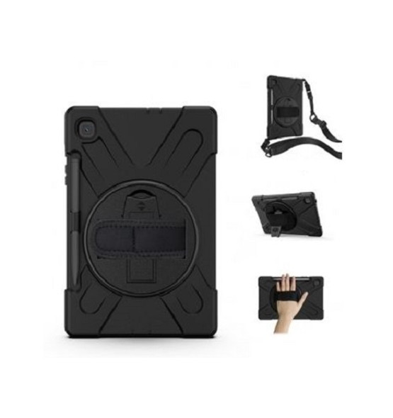 GENERIC Samsung Galaxy Tab S6 Lite Rugged Black Case - Shockproof, Dustproof, 360 Rotatable Hand Strap, 3 Layers Heavy Duty Protection