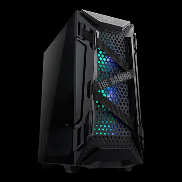 ASUS GT301 TUF GAMING CASE Black ATX Mid-Tower Tempered Glass Compact Case, Honeycomb Panel, 4 Total Pre-Installed 120mm Fans 3x ARGB + 1x