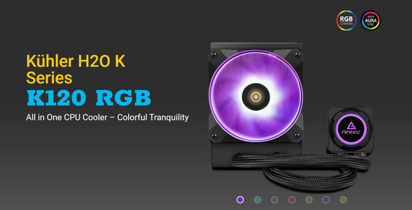 ANTEC Kuhler K120 RGB All in One CPU Liquid Cooler, LGA 2066, 2011, 115x, 1200, AMx, FMx. 3 Yr Warranty